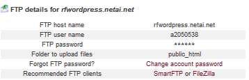 Filezilla. Datos de FTP