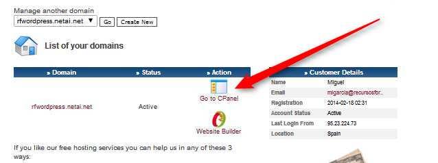Acceder al panel de control en webjost