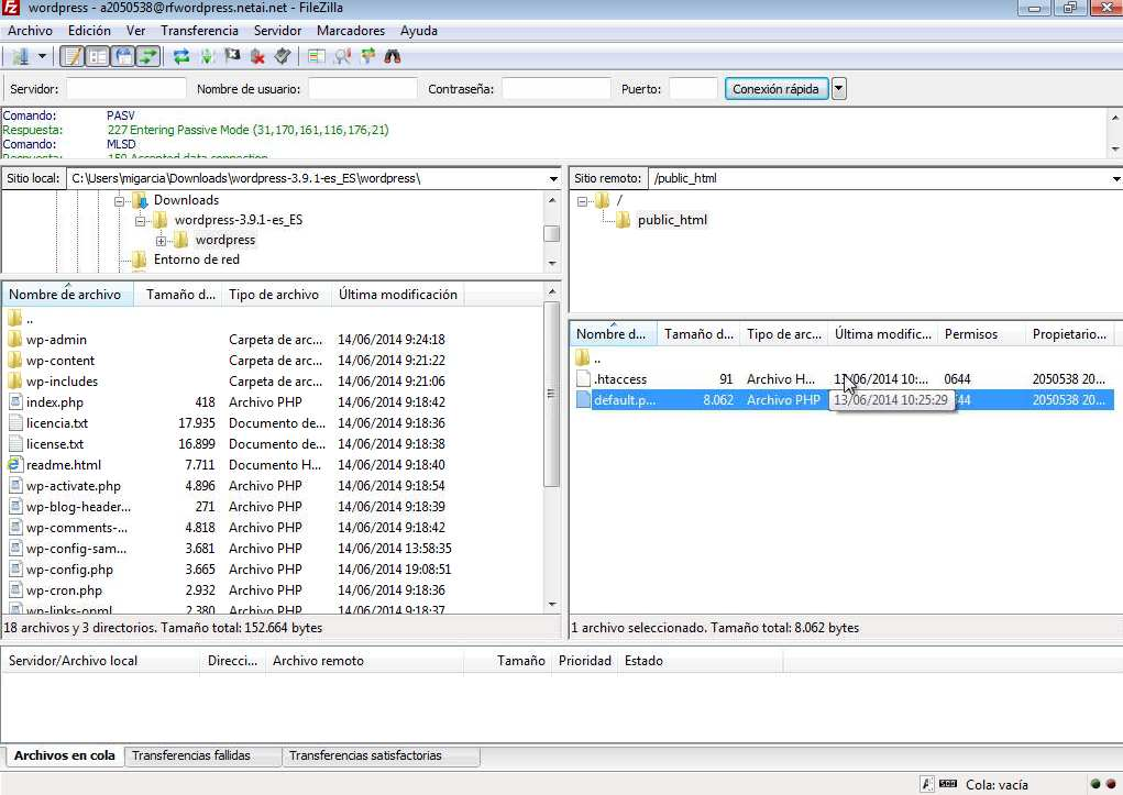 Filezilla para wordpress