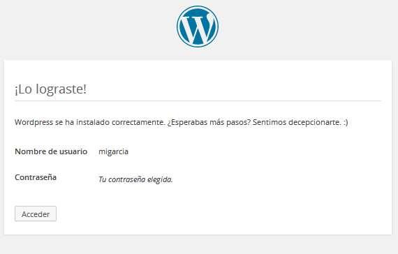 Finalizacion de la instalacion de wordpress