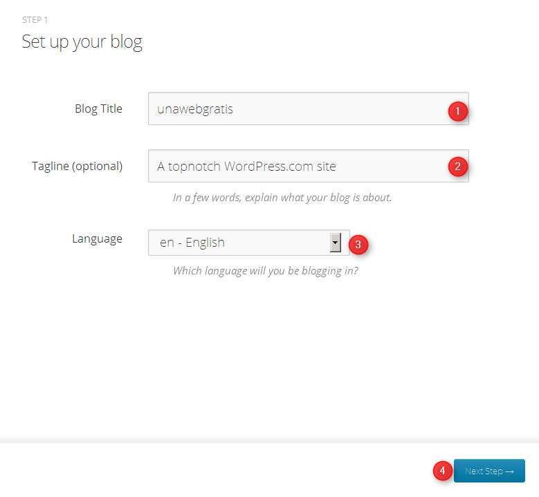 Creacion de cuenta en wordpress