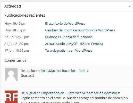 Escritorio de WordPress. Actividad