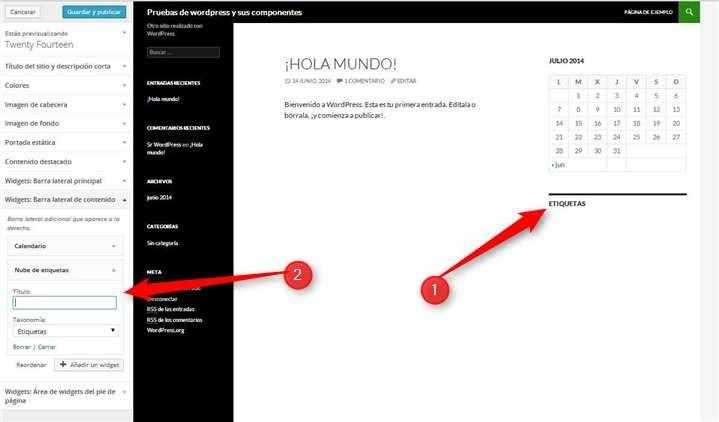 Wordpress.Configuracion de widgets