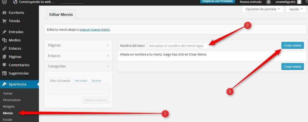 wordpress. creando un menu