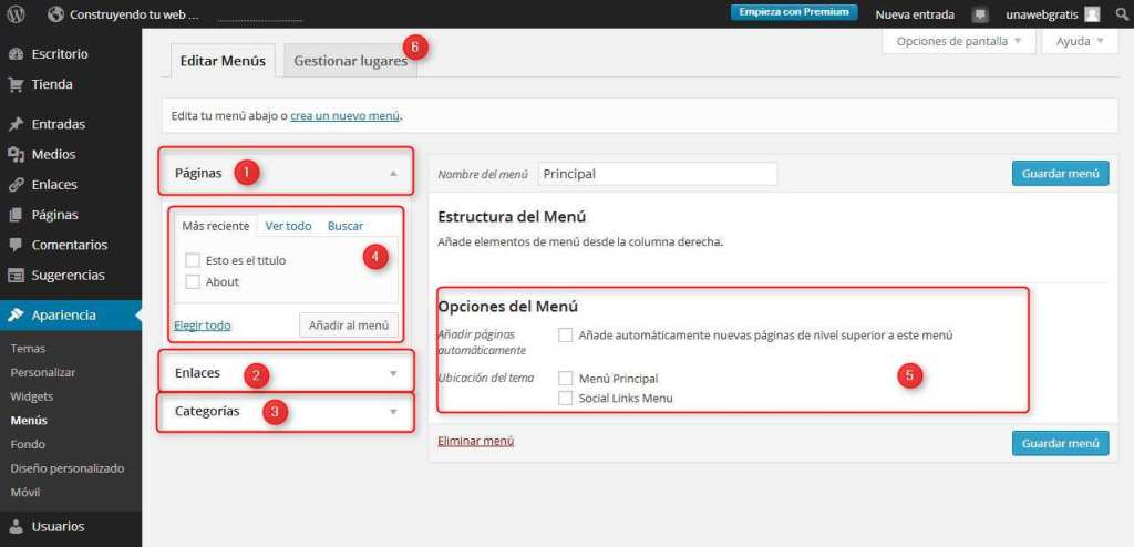 Wordpress-configurando menus