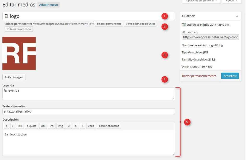 Wordpress-Editar imagen