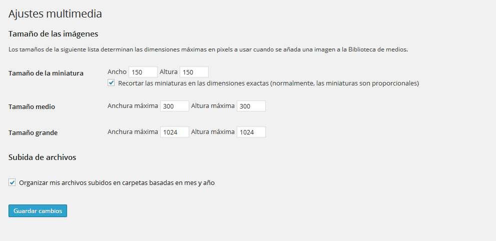 Wordpress pantalla de ajustes de los medios