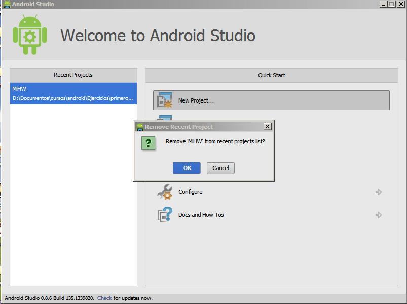 Android Studio. Borrar proyecto