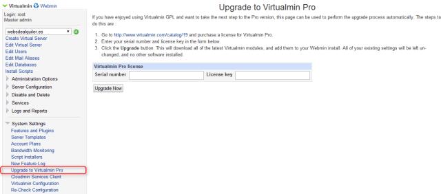 virtualmin Upgrade a PRO