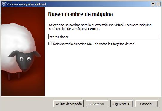 virtualbox.clonar maquina. Nombre nueva maquina