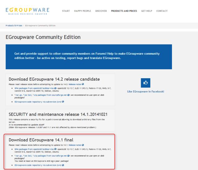 egroupware-eleccion de version