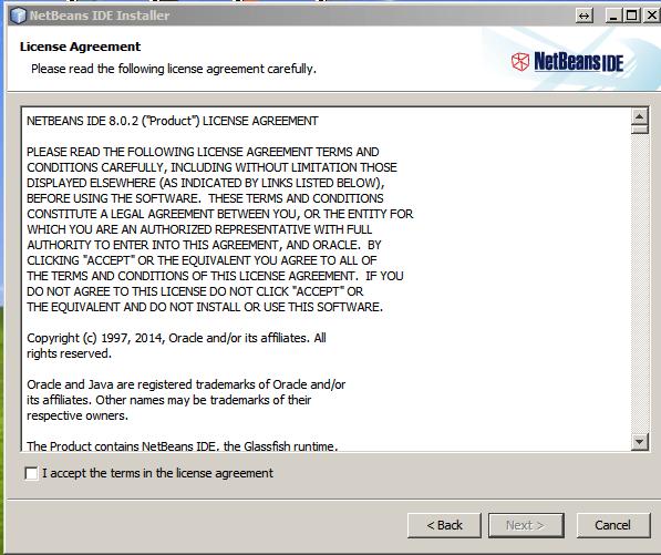 Netbeans-aceptar licencia