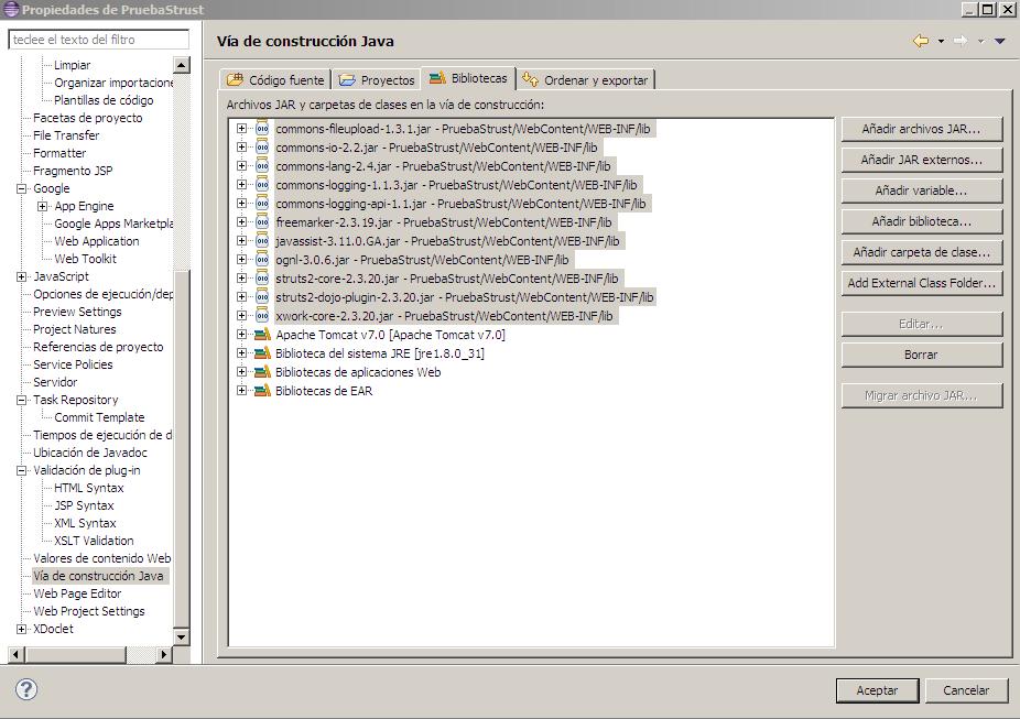 Eclipse-Strust. Proyecto configurado