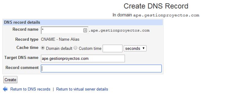 Creacion registro CNAME para APE