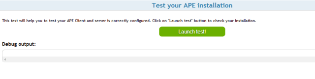Pantalla prueba APE-Server