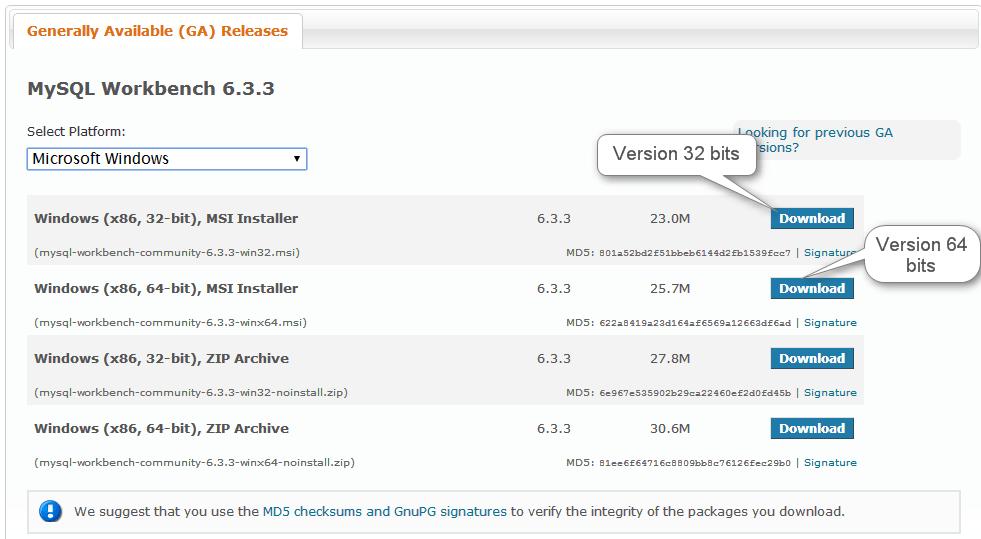 WorkBench - Seleccionar descarga