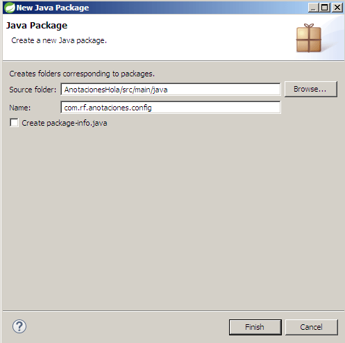 Spring. paquete para configurar por anotaciones