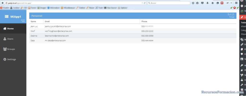 Vista de la aplicacion Sencha CMD con Firefox