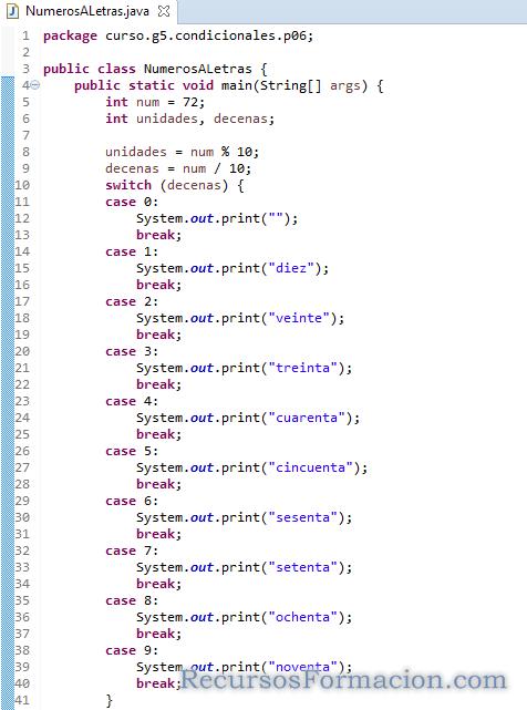 Primera version de clase de java que convierte de numeros a letras
