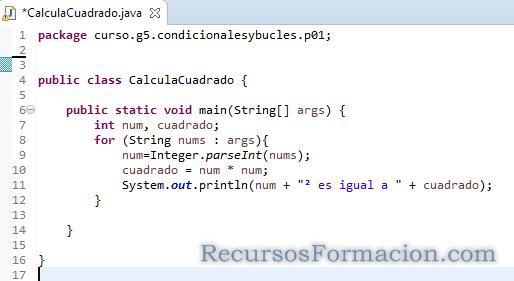 Clase java para iterar en una coleccion y calcular el cuadrado de los numeros