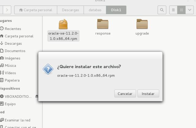 Instalacion en centos de oracle database express edition
