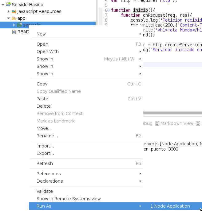 lanzar aplicacion node