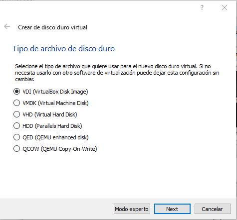 Tipo de disco virtual para instalar Android en un PC