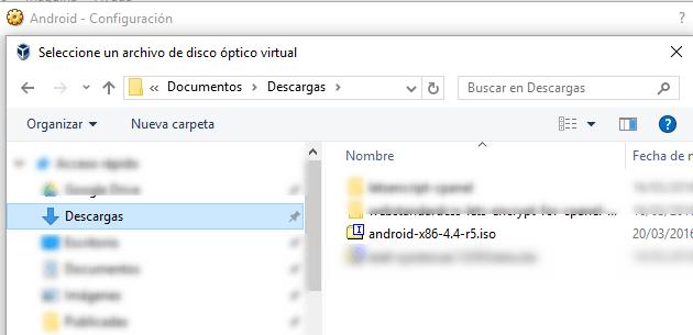 Instalando Androi en VirtualBox. Buscar la ISO