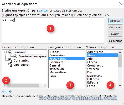 Access. Generador de funciones