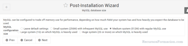 Post installation wizard-Virtualmin-MySQL-Tuning