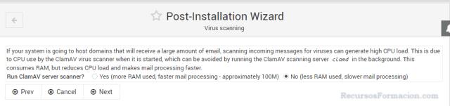 Post installation wizard-Virtualmin-CLAMAV