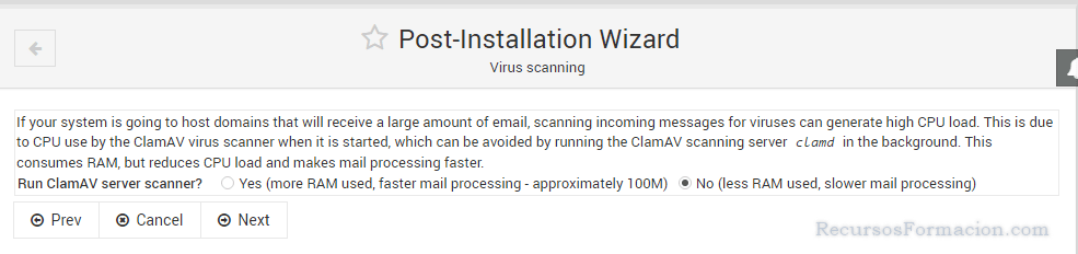 Post installation wizard-Virtualmin-CLAMAV
