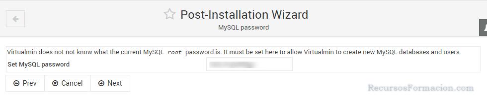 Post installation wizard-Virtualmin-MySQL