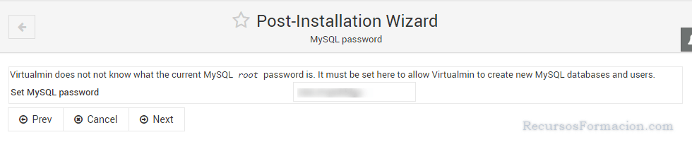 Post installation wizard-Virtualmin-MySQL