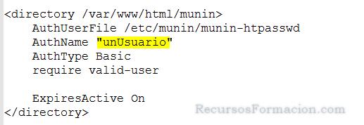 Modificando usuario en Apache, para munin