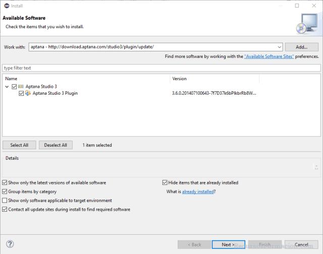 Pantalla con el listado de programas del repositorio de Aptana, para indicar que plugin deseamos añadir a Eclipse