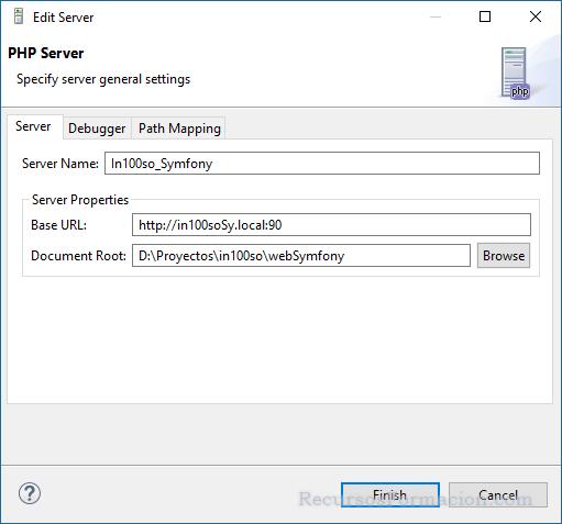 La pantalla de configuracion de servidor para Eclipse la utilizamos para configurar el servidor para el proyecto de Symfony