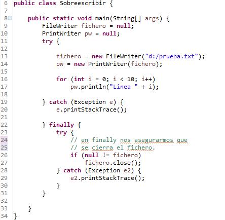 Programa java para escribir en fichero