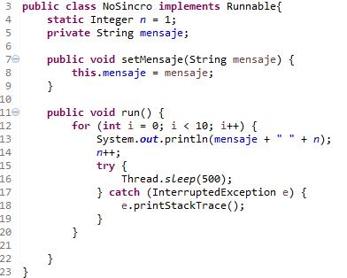 Ejemplo en Java de synchronized()