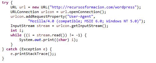 La clase URLConnection. Ejemplo de uso