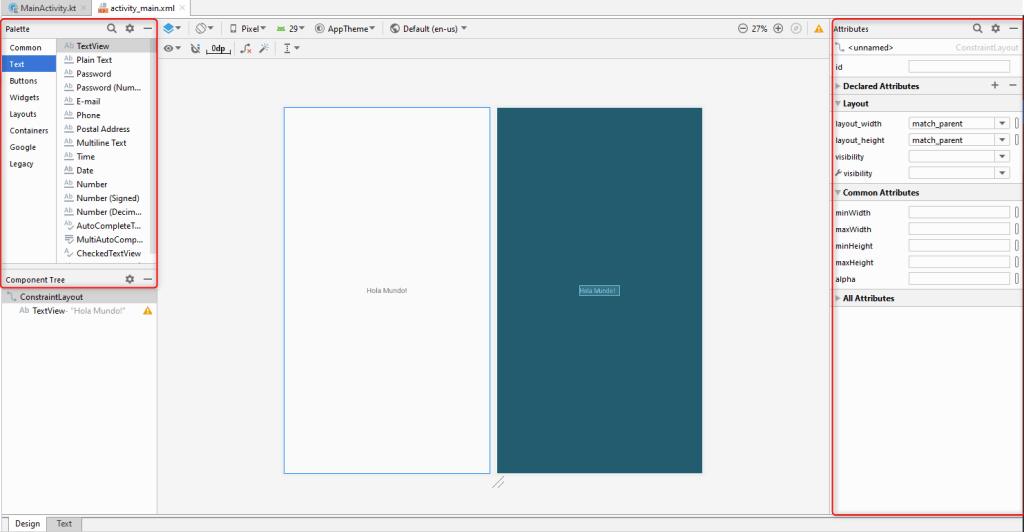 Vision completa del area de trabajo de Android Studio. Editor gráfico