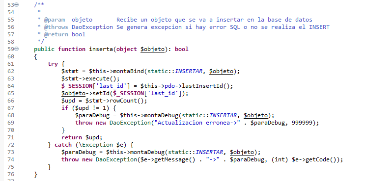 metodo para insertar registro en la base de datos, utilizando PDO