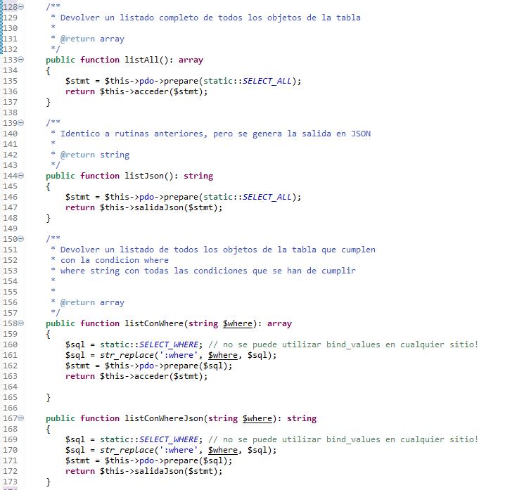 Trabajando con PDO en PHP. conjunto de metodos para acceder a la tabla