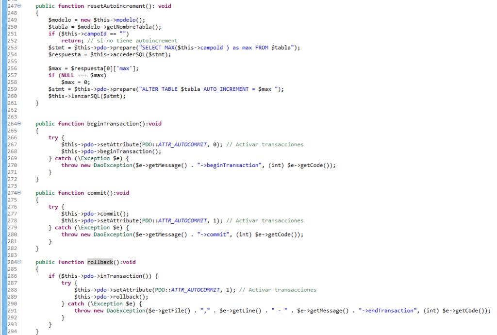 PHP. Realizacion de acceso con PDO. metodos begintransaction, commit y rollback