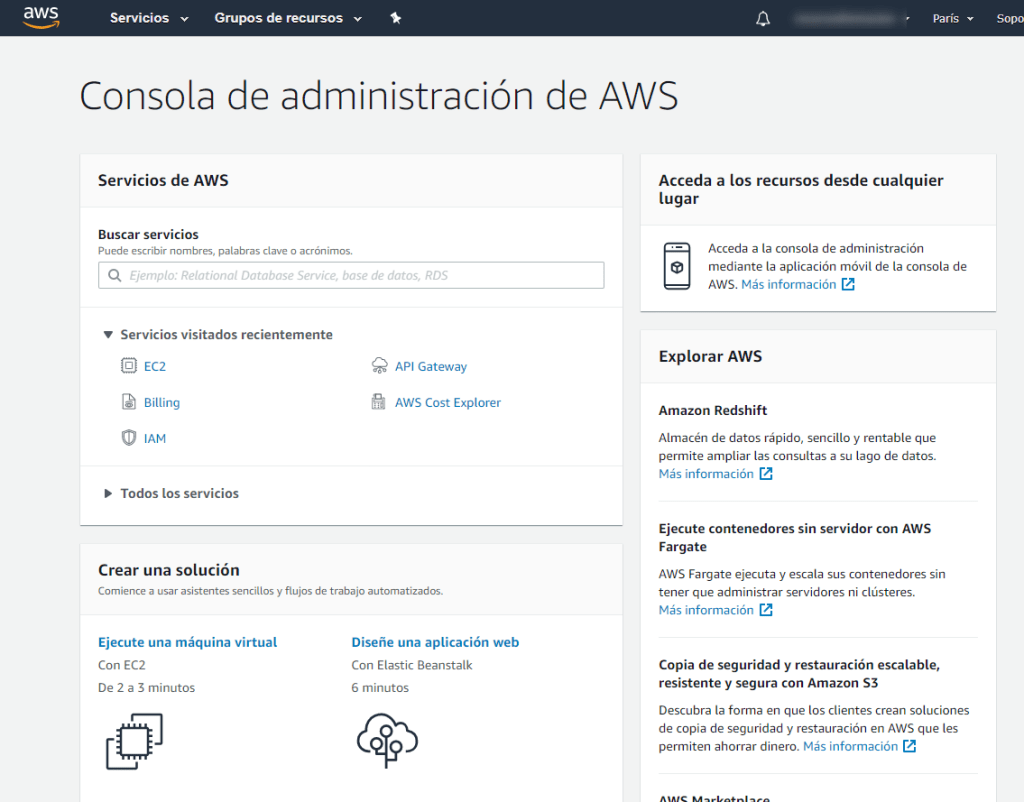 Consola de Administracion de AWS