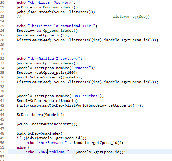 Pruebas PHP para daoComunidades