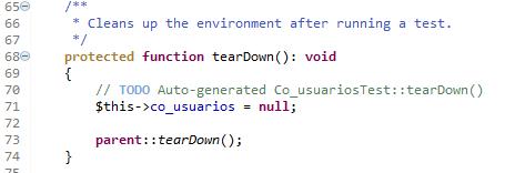 Metodo tearDown en ejercicio de phpUnit