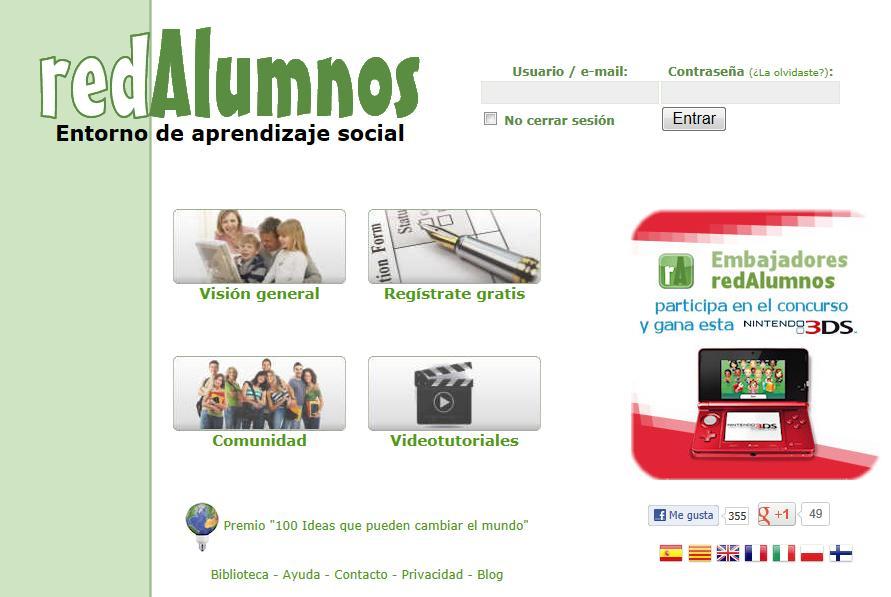 Página principal de RedAlumnos