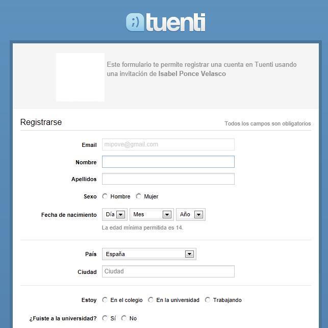 Tuenti Registro con invitación