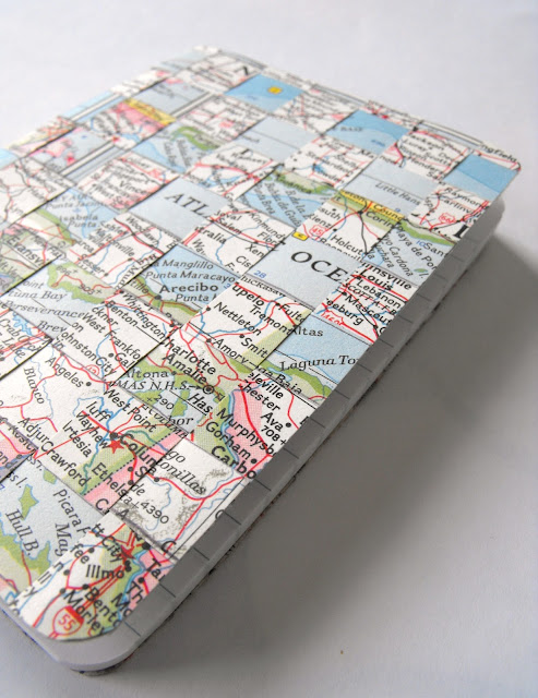How To Make A Recycled Map Woven Book Cover Recycled Crafts